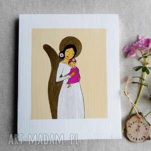 pracownia na deskach obrazek chrzest święty - dziewczynka, anioł