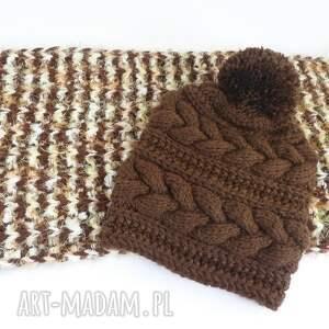 elma22 komin w różnobarwne paski i czapka, komin, szal, brązowy, komplet