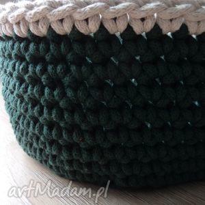 zielony koszyk ze sznurka, koszyk, zielony, sznurek, szydełko, sziergany