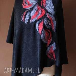 handmade poncho wełniane jesienne filcowane