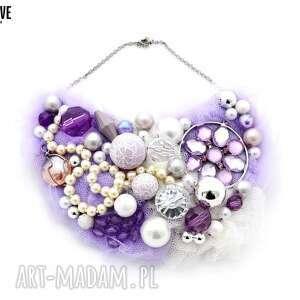 lilly naszyjnik handmade, naszyjnik, fiolet, fioletowy, liliowy, tiulowy