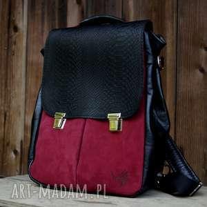 lilith chimera smocza skóra naturalna czarno-rubinowa plecak/torba, rubin