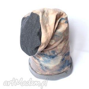 czapka bawełniana ręcznie farbowana - czapka, bawełna, dzianina, wiosna