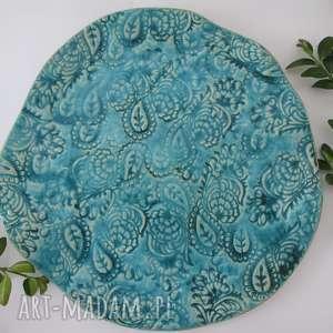 turkusowe Indie, artystyczny, talerzyk, fusetka, ozdobny, ceramiczny, turkusowy