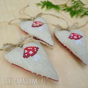 zawieszki bombki choinkowe muchomorki haftowane