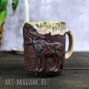 ręczne wykonanie kubki handmade kubek ceramiczny z wilkiem   duży leśne opowieści 530