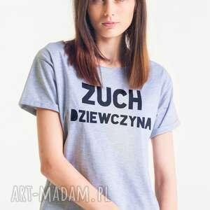 koszulki zuch dziewczyna - koszulka oversize damska tshirt szary, oversize
