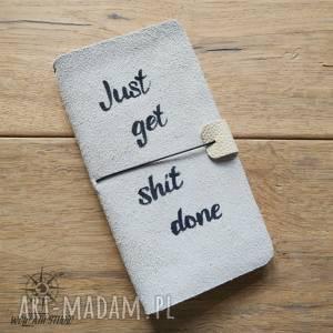 handmade notesy organizer just get sh t done - skórzana okładka
