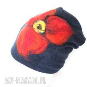 czapka wełniana damska granat - wełna, etno, kolorowa, czapka, kwiaty, zima