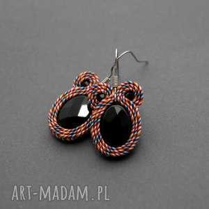 kolorowe kolczyki sutasz z onyksami, sznurek, eleganckie, wiszące, codzienne, wesołe