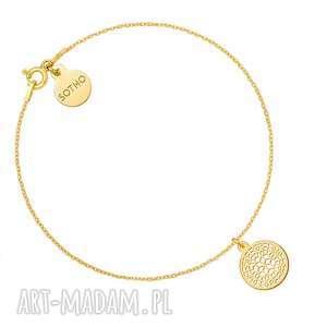 złota bransoletka z ażurową rozetką - łańcuszek