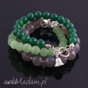 Zielona bransoletka z agatów - ,zielona,bransoletka,srebro,agat,biżuteria,