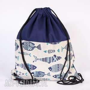 niebieskie ryby, torba, worek, plecak, ryba