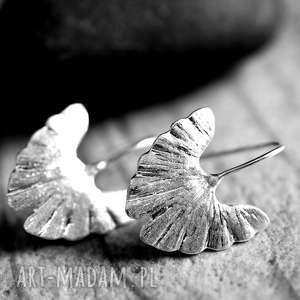 925 Kolczyki srebrne Ginkgo , ginko, liście, natura, srebro, 925, lekkie