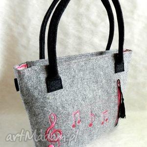 ręczne wykonanie na ramię filcowa torba - różowe nuty