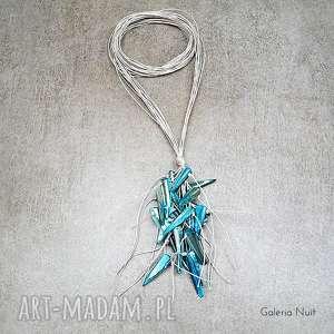 hand made naszyjniki niebieski - długi naszyjnik lniany