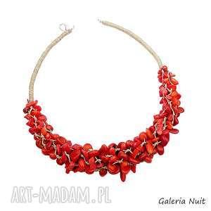 Czerwony sznur korali - naszyjnik, koral, len, lniany, etniczny, minerały, naturalny