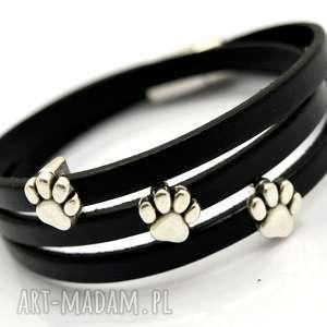 handmade bransoletka skóra magnetoos triple animallo black