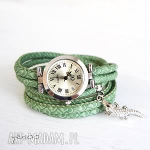 zegarek, bransoletka - zielony, wężowy krokodyl 2, bransoletka, owijany