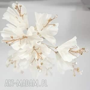 selenit kwitnąca gałązka 3, kwiaty, jedwab, ślub, ozdoba, swarovski, kryształ