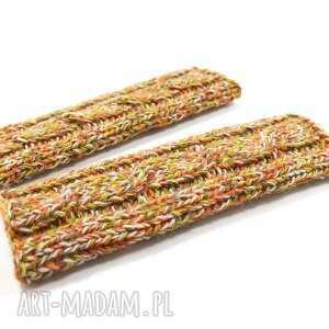 długie rękawki mitenki rękawiczki bez palców z warkoczem robione na drutach