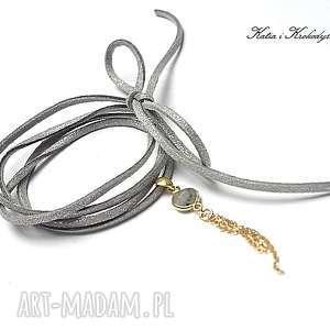 Choker grey /gold/ - naszyjnik, srebro, pozłacane, labradoryt, chwost, rzemień