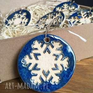 ceramiczne śnieżynki na choinkę, święta, ceramika, prezent, rękodzieło