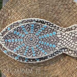 enio art talerze rybki, zestaw 2 sztuk, etno, talerze, ryba, półmisek, ceramika
