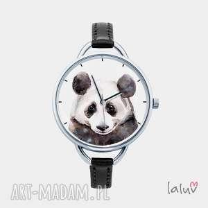 Prezent Zegarek z grafiką PANDA, prezent, czarno, biała, puszysta, słodka, bambus