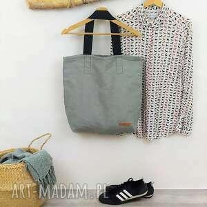 Lniana szara torba shopper bag favourite na ramię bamsi bag, len