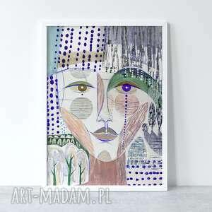 plakat 30x40 cm - dziewczyna i pejzaż, plakat, wydruk, reprodukcja, twarz