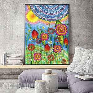 Łąka A2, łąka, kwiaty, kolorowe, plakat, grafika, obraz