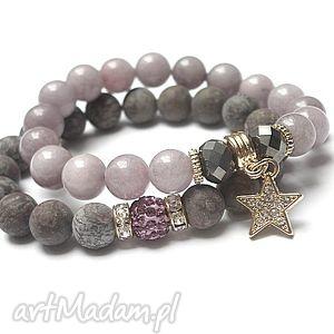 bransoletki brown and powder violet 13 08 16 duo, kamienie, minerały, kryształki