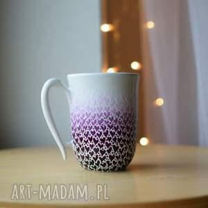kubek ceramiczny śliwkowe serduszka ombre, kubek, ceramika