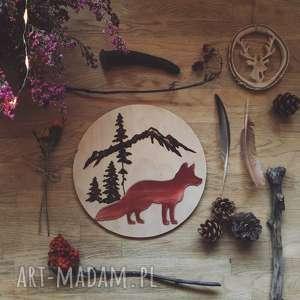 ręcznie robione dekoracje drewniana dekoracja ścienna, obrazek lis