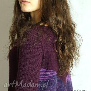 swetry bakłażanowa no 1, swetrek, bluzka, mesynos, bakłażanowy, dziergana, moher