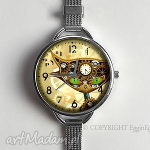 steampunk owy kot - zegarek z dużą tarczką 0958ws - bransoletka