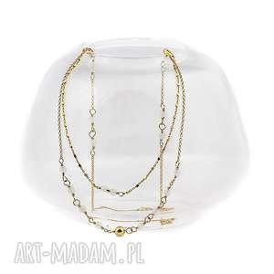naszyjniki agat biały, agat, dlikatny, naszyjnik, złocone, srebro, 925