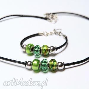 zielono-czarny komplet - bransoletka i naszyjnik z rzemieni skórzanych