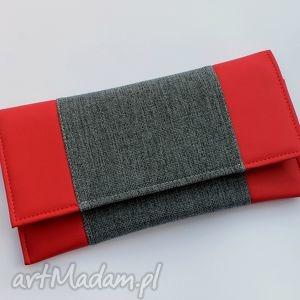 kopertówka - czerwona i środek dark grey - wizytowa, wesele, prezent
