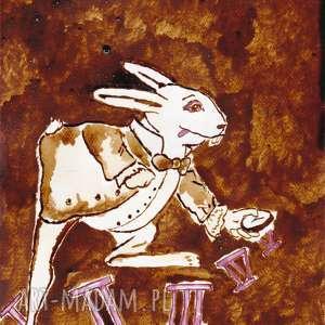 handmade obrazy biały królik - obraz kawą i piórem malowany
