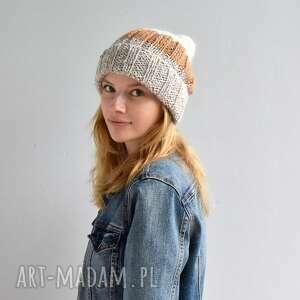 ciepła czapka, wełniana na drutach, kobieca, beanie czapki