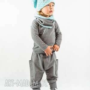 ubranka spodnie szare z krokiem i kiszeniami , bawełna, handmade, wygoda, kieszenie