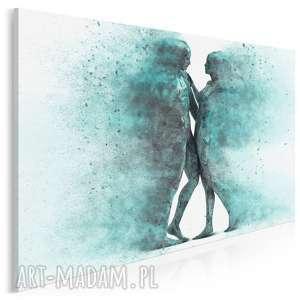 Obraz na płótnie - para sylwetki postacie turkusowy 120x80 cm