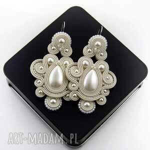 kolczyki ślubne nexite pearl soutache, ślubne, perłowe, stylowe, sutasz, soutache