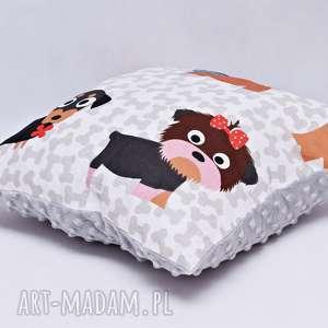 poduszka pieski z szarym minky - poduszka, pies, pieski, minky, jamnik, jork