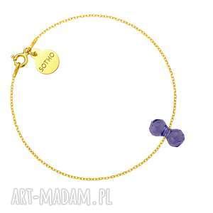 Złota bransoletka z kryształowym ciężarkiem SWAROVSKI® CRYSTAL, bransoletka, kryształ