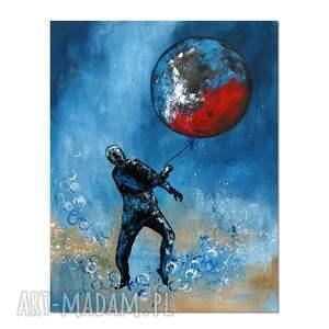 balloon stories /7/, obraz ręcznie malowany, obraz, ręcznie, postać