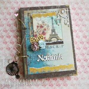 Notatnik w stylu paryskim, paryski, notatnik, wieża, eiffla, rower, pamiętnik