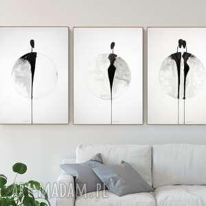 hand-made plakaty zestaw 3 grafik 50x70 cm wykonanych ręcznie, plakat, abstrakcja, elegancki